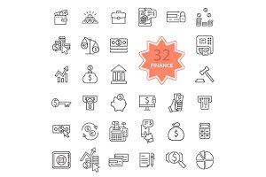 Thin Line Icons of Finance