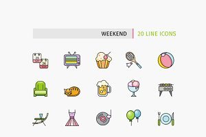 Lines Weekend Picnic Icons