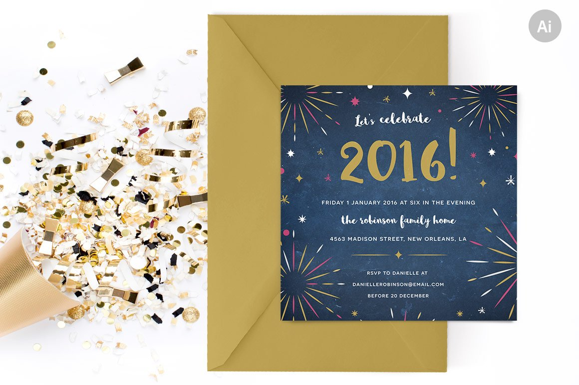 Fireworks New Years Party Invite ~ Invitation Templates ~ Creative ...