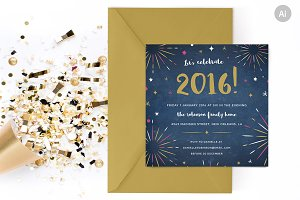 Fireworks New Years Party Invite