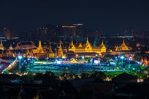 Thailand grand palace at night