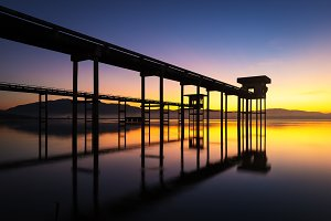 Morning landscape at reservoir
