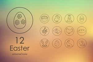 12 easter line icons