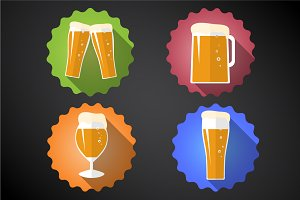 Beer Glass Set Flat Vector Icons