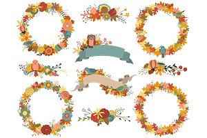 Autumn Wreaths Vector & PNG Pack