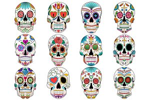 Sugar Skulls Vector & PNG Pack