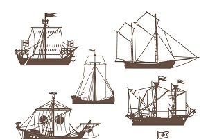 Set of vintage sailing ships
