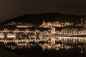 Panorama of Heidelberg in Sepia