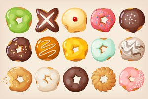 Set of colorful delicious doughnuts