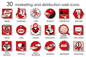 Thirty line icons set of marketing.