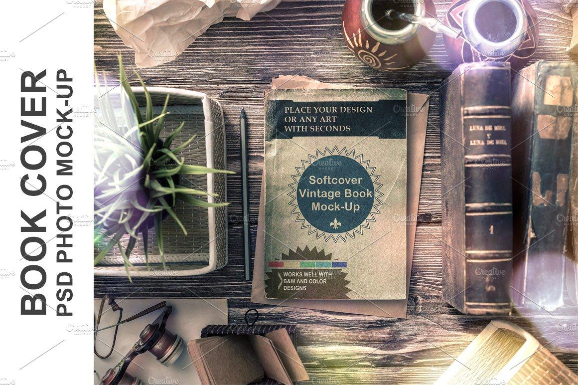 Vintage Soft Cover Book Mock Up : Vintage soft cover book mock up product mockups