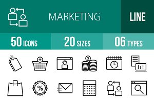 50 Marketing Line Icons