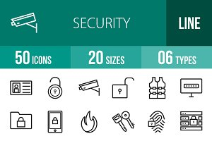 50 Security Line Icons