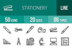 50 Stationery Line Icons