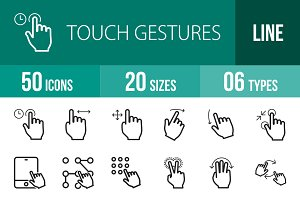 50 Touch Gestures Line Icons