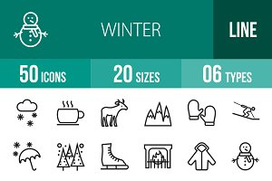 50 Winter Line Icons