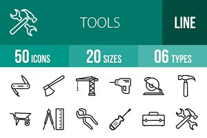 50 Tools Line Icons