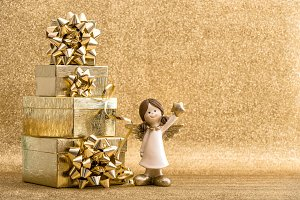Gift boxes and little angel