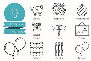 9 Decoraion Objects Line Icons