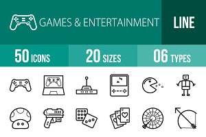 50 Games & Entertainment Line Icons