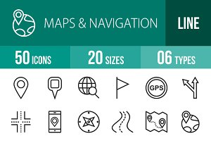 50 Maps & Navigation Line Icons