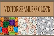 Seamless vector background. Clock.