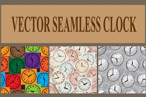 Seamless vector background. Clock.