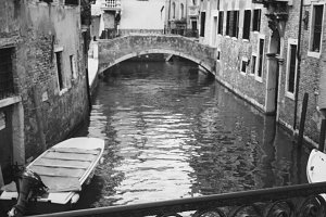 Black and white Venice canal