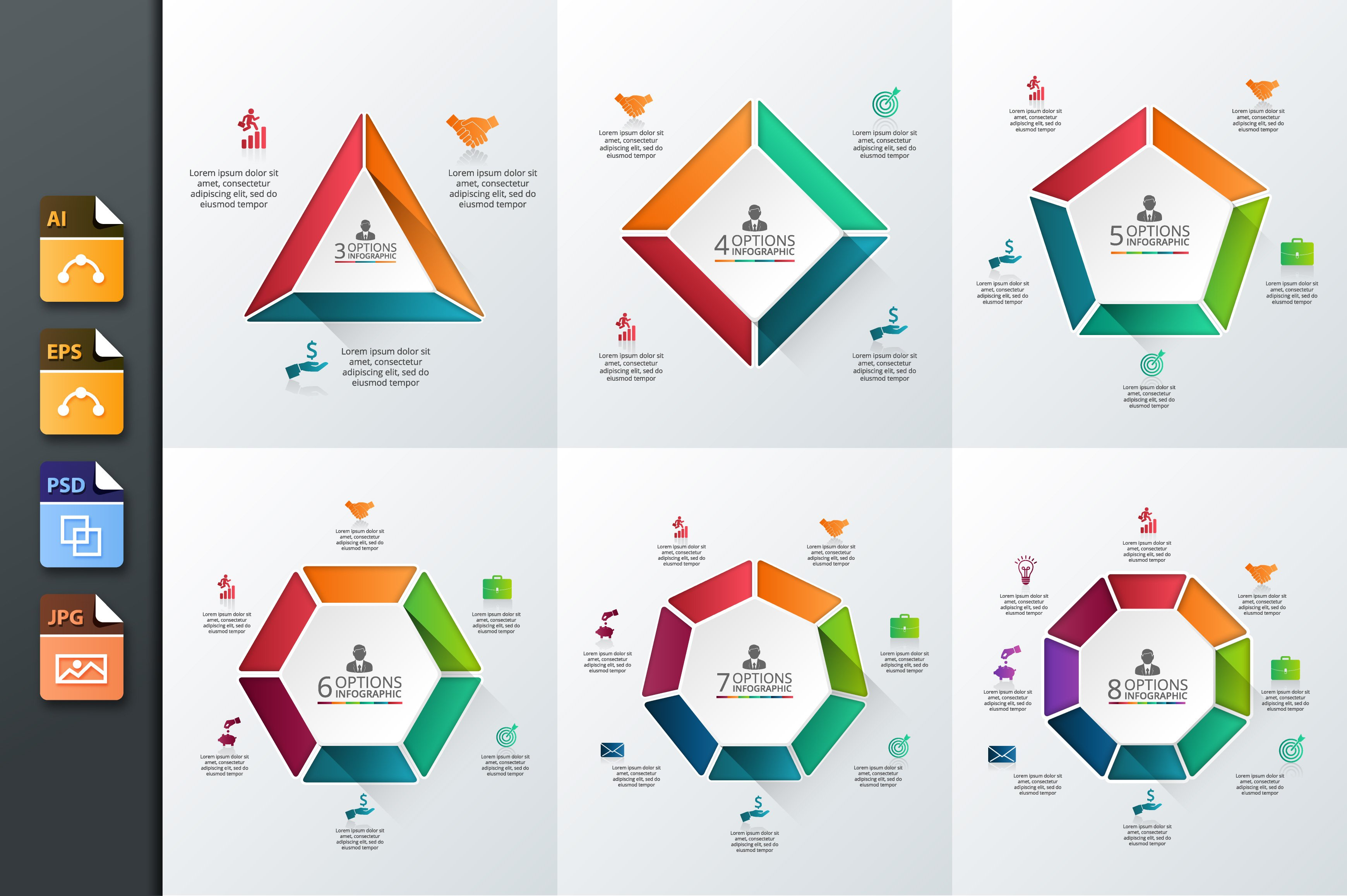 infographics template set v 10 presentation templates creative