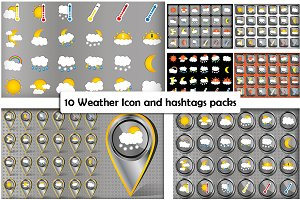 10 Weather Icon and hashtag packs