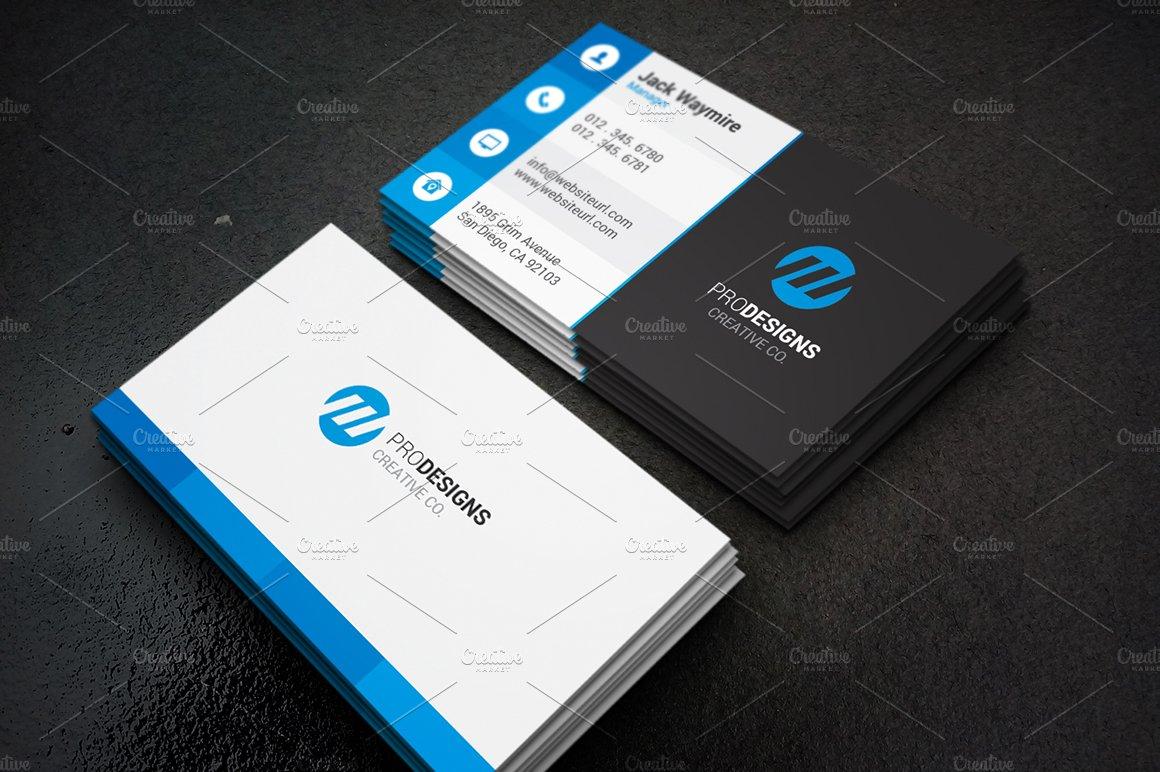 Modern creative flat business card business card for Card creative