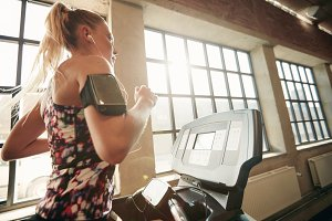 Female working out on a treadmill
