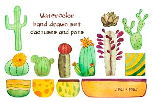 Watercolor cactuses and pots set