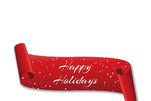 Curved red banner Happy holidays