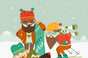 Hipsters with ski and snowboard