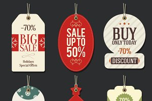 6 Christmas promotional tag vector