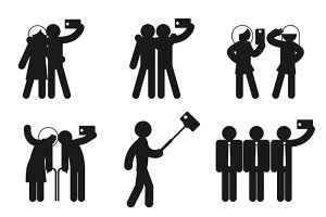 Set of vector selfie icons