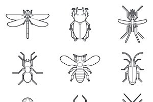 Insects mono line icons vector set