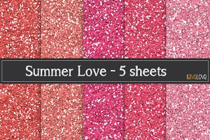 Summer Love - Glitter Paper Pack