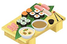 Japanese food. Sushi and rolls.