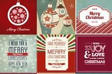 9 Vintage Christmas poster vector