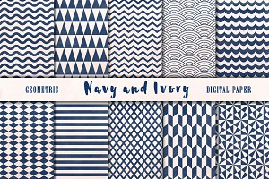Navy and Ivory geometric backgrounds