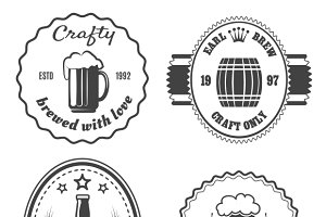 Craft beer brewery badges and logo