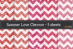 Summer Love Chevron- Glitter Paper