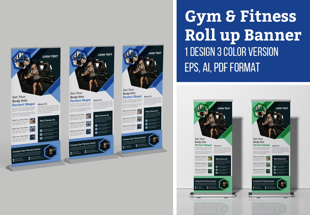 Gym Roll Up Banner Creative Template Creative Illustrator Templates Creative Market