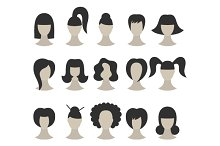 Set of Black Hairstyles for Woman