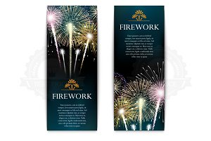 Set of fireworks vertical banner
