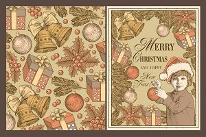 Set. Christmas, New Year, Card.