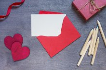 Mockup of red envelope with hearts