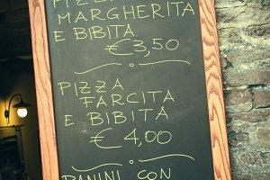 Italian chalkboard menu